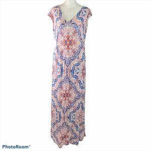 Jessica Simpson maxi pink & blue maternity dress